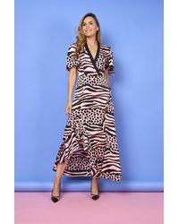 Liquorish Johan Asymmetric Maxi Animal Print Dress With Frill And Ruches - Multicolour