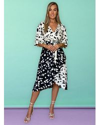 Liquorish Alice Short Kimono Sleeve Wrap Dress - White
