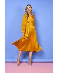 mykindofdress Monica Pleated Belted Midi Dress - Yellow
