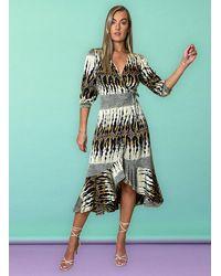 Liquorish Sine Midi Wrap Dress In Layered Abstract Print - Multicolour