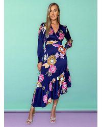 Liquorish Priscilla Floral Print Wrap Dress - Blue