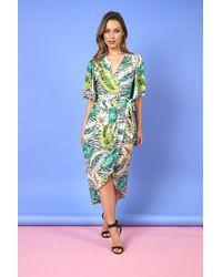 Liquorish Gracie Midi Dress In Zebra & Green Leaf Print