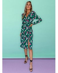 mykindofdress Alana Puff Shoulder Wrap Midi Dress - Green