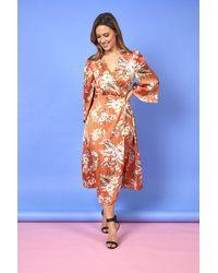 Liquorish Alba Floral Maxi Wrap Dress - Orange