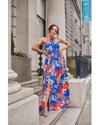 mykindofdress Blue And Orange Floral Halterneck Dress