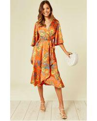 Liquorish Orlaith Floral Midi Wrap Dress - Orange