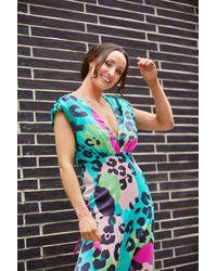 mykindofdress Multi Coloured Animal Print Midi Dress - Blue