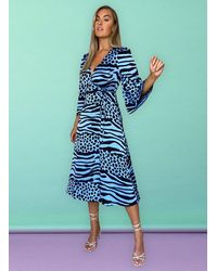 Liquorish Valentina Animal Print Wrap Dress - Blue