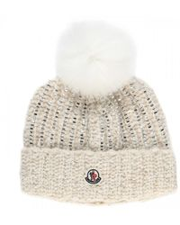 Moncler Fur Embellished Beanie - White