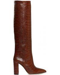 Paris Texas Moc Croco High Boots - Brown