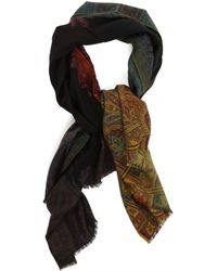 Etro Wool And Silk Scarf - Black