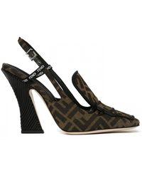 Fendi Slingback Logo Court Shoes - Black
