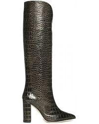 Paris Texas Texturized Leather Booties - Black