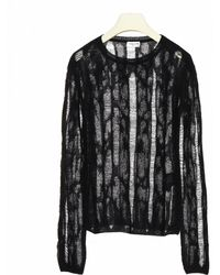 Saint Laurent Ripped Effect Jumper - Black