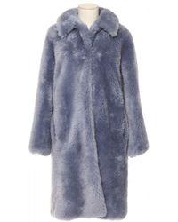 Yves Salomon Meteo Fur Coat - Blue