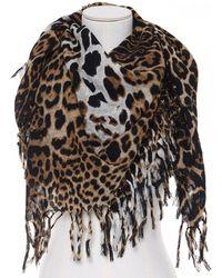 Saint Laurent Wool Leopard Print Scarf - Black