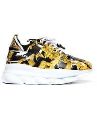 Versace Chain Reaction Baroque Print Sneakers - Multicolor