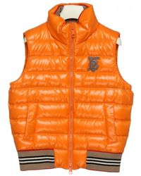 Burberry Quilted Gilet With Frontal Logo Patch - Orange