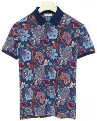 Etro Floral Print Polo Shirt - Blue