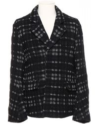 Ann Demeulemeester Checked Wool Blazer - Black