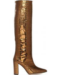 Paris Texas Metallized Leather Booties - Brown