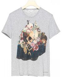 Alexander McQueen Skull Still Life Mix Print Cotton T-shirt - Gray
