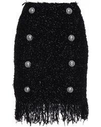 Balmain Shirred Miniskirt - Black