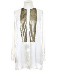 Etro Oversize Silk Shirt With Jacquard Bib - White