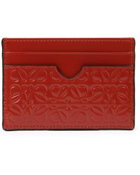 Loewe Leather Plain Cardcase - Red