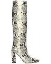Paris Texas Snake Print Tall Boots - Natural