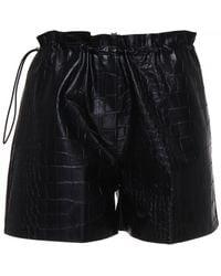 Nude High-waisted Eco Leather Shorts - Black