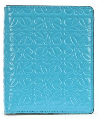 Loewe Leather Wallet With Engraved Logo - Blue