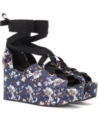 Erdem Wren Jacquard Platform Sandals - Blue