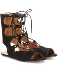 Chloé Foster Lace-up Suede Gladiator Sandals - Black