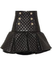 Balmain Quilted Leather Miniskirt - Black