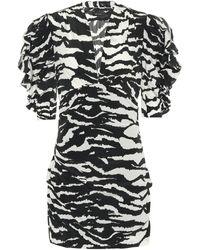 Isabel Marant Robe en soie mélangée à imprimé tigré Farah - Noir