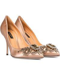 Dolce & Gabbana Verzierte Pumps aus Satin - Braun