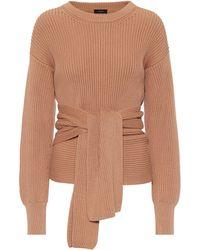 JOSEPH Ribbed-knit Cotton Wrap Sweater - Brown