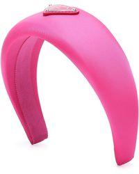 Prada Logo Twill Headband - Pink