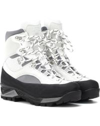 Ganni Sarai Leather Hiking Boots - White