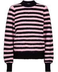 Ganni Pullover a righe in misto alpaca e lana - Multicolore