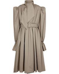 Balenciaga Robe midi Trench-Coat en coton - Neutre