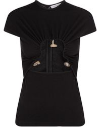 Christopher Esber T-shirt in maglia stretch con cut-out - Nero