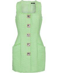 Balmain Vestido corto de tweed adornado - Verde