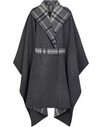 Burberry Mantella reversibile in lana Vintage Check - Grigio