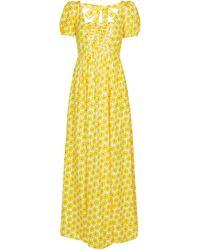 Diane von Furstenberg Vestido largo de algodón en jacquard floral Poppy - Amarillo