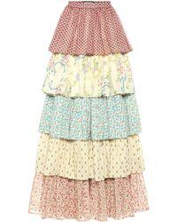 Gucci Falda larga de algodón floral - Blanco
