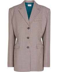 Magda Butrym Houndstooth Wool And Cotton Blazer - Natural