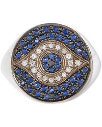 Ileana Makri Anillo Dawn Chevalier de oro blanco de 18 ct con diamantes y zafiros - Metálico