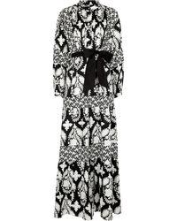 Diane von Furstenberg Long-sleeved Printed Cotton Dress - Black